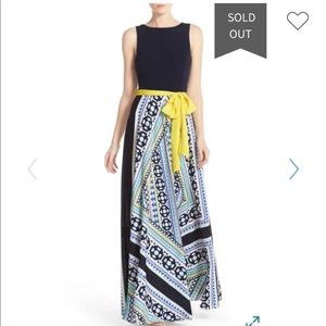 NWT Eliza J Scarf Print Jersey & Crepe Maxi Dress